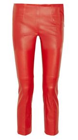 Cropped leather skinny trousers by Miu Miu.