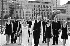 A walking group photo