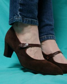 Brown Suede Mary Janes  70's Leather Hush by TaborsTreasures, $37.00