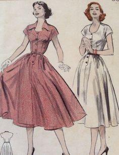 BUTTERICK 6109 VINTAGE SEWING PATTERN 1950s Women's Dress Size 12