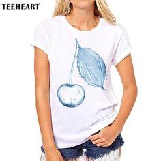 Flower Spray Fresh Blue Art Funny Loose Women Round Neck Short Sleeve Print T-shirt Ladies Tops Tees