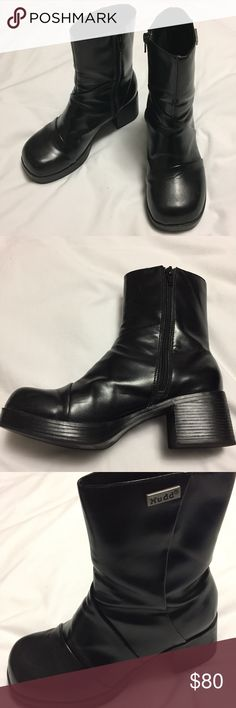 da9550567930 Nuff Chunky Heels Boots Black Size 6.5 Lightweight Rubber Heels Faux  leather Back heels  2