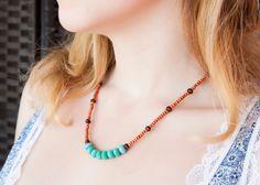 Türkis Halskette, Womens Holz Halskette, Womens Glas Halskette, Halskette Artisan, Unikat Schmuck, Boho Halskette Herbst Halskette Herbst Halskette