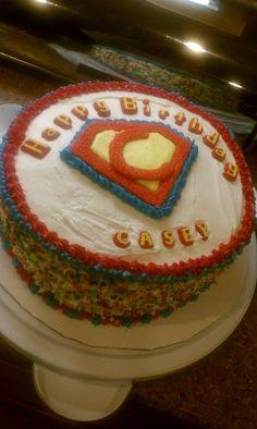 Superhero birthday cake for my Super Casey 3rd birthday!