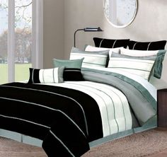 New Striped 8 Piece Matte Taffeta Comforter Set Queen by Royal Luxury LINEN. $69.99. Machine washable. Matte taffeta. Hand made pin-tuck pillow. Soft touch. new striped 8-Piece Matte Taffeta  Comforter Set. Romance, and Luster For its Unique Design, Accented with a Beautiful Hand Made Pin-Tuck Pillow. new striped is Sure to Compliment any room. Includes 1-Comforter 86x86, 2-Euro. 2-Standard Shams, 1-Bedskirt, and 2-Decorative Pillows.