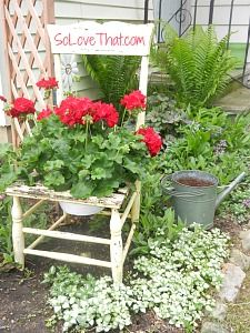 chair planter. I've done this a few times. I like to use chairs with an upholstered seat. Remove it and build your planter on the frame using chicken wire and coconut fiber or spanish moss.