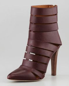 Debra Cutout Leather Bootie, Dark Brown at CUSP. Shoes Flats Sandals, Shoe Boots, Summer Boots, Leather Booties, Shoe Game, Designer Shoes, Me Too Shoes, Rebecca Minkoff, Fashion Shoes