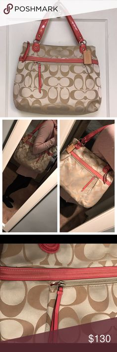 """✨TONIGHT ONLY ✨ ** AUTHENTIC ** Coach Tote Bag Coach Signature Satin Glam Bag   Coral and Khaki Color   Used, in great condition, except some marks on coral stripe and one on lower left side of Bag (see picture)   Dimensions: 12"""" High and 17"""" Wide   Smoke free, clean home! Coach Bags Shoulder Bags"""