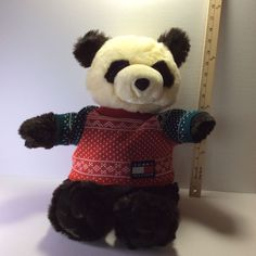 780a04c7ce9 Vintage Gund Tommy Hilfiger Panda Bear Plush Stuffed Animal with Sweater  1990 S