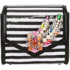 SHOUROUK Small Daktari Embellished Sequin Bag featuring polyvore, fashion, bags, handbags, clutches, sequin clutches, stripe handbag, embellished purses, striped purse and embellished handbags