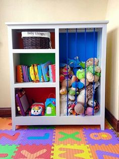 cute baby room toy storage that somehow doesn't look like a public school or  daycare even though it's primary colors!