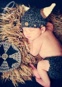 Handmade, Crochet Viking outfit, Newborn photography photo prop, Viking Hat, Newborn Boy outfit