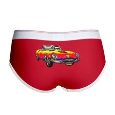 $17.50 Women's Boy Briefs Classic Convertible Sports Car with Digital Sunrise Finish, Fire and Eagle Hood Ornament & Abstract Graphics. Part of Crown & Leopard Collection of Unique Classic Cars & Mixed Painting & Graphics.