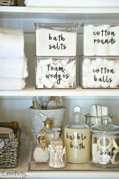 Best Linen Closet Organization Ideas For 2019 Bathroom Organisation, Kitchen Organization, Organization Hacks, Organizing Labels, Bathroom Storage, Bathroom Ideas, Organizing Ideas, Bathroom Bin, Bathroom Shelves