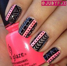 Grey and pink tribal nail design