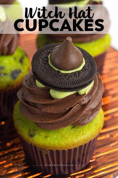 Need a cute Halloween treat for the kids? These witch hat cupcakes are topped with an edible DIY Witch Hat and are simple to make - they'll be a huge hit for any Halloween party celebration!