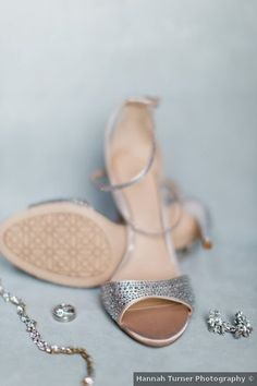 Wedding shoes ideas - silver, glam, heels, open toe {Hannah Turner Photography}