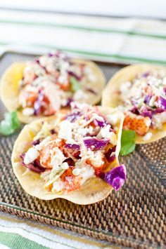 lobster tacos with chili-lime slaw and avocado crema — kitchen lush Lobster Recipes, Shrimp Recipes, Fish Recipes, Lobster Appetizers, Salmon Recipes, Seafood Platter, Seafood Dishes, Seafood Meals, Lobster Dishes