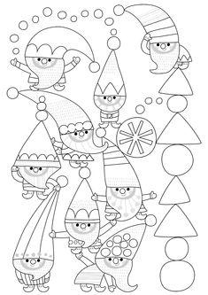 Värityskuva | free printable pattern | lasten | lapset | joulu | idea | askartelu | kädentaidot | käsityöt | tulostettava | kuva | paperi | värittäminen | väritys | värittää | tonttu | koti | leikki | DIY | ideas | kids | children | crafts | paper | picture | coloring | elf | christmas | home | Pikku Kakkonen