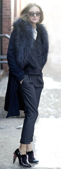 Olivia Palermo looking cozy in a fuzzy fall coat