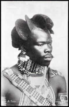 Africa | An example of a 19th century Zulu hairstyle .... might also explain the need for a headdress rather than a traditional pillow.