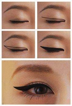 How to Apply Winged Eyeliner for Different Eye Shapes Winged Eyeliner for Monolids – Das schönste Make-up Asian Eye Makeup, Makeup Eye Looks, Eye Makeup Steps, Smokey Eye Makeup, Makeup Tips, Makeup Products, Pretty Makeup, Makeup Ideas, Beauty Makeup