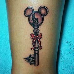 Disney key tattoo, belle's rose inside or crown inside :) Disney Key Tattoo, Mickey Tattoo, Disney Tattoos Small, Key Tattoos, Feather Tattoos, Body Art Tattoos, Tatoos, Couple Tattoos, Tattoos For Guys