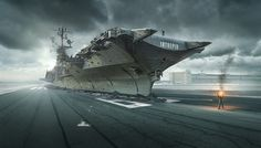 Cold War - The USS INTREPID is a WW ll Aircraft Carrier located in Manhattan. I put it onto the runway 09 Left of the Airport Berlin Tempelhof. Both the carrier and the airport are very much related to the history of WW ll. The two guys are created with Adobe FUSE, all image parts are finally composed with Adobe PHOTOSHOP CC 2018.