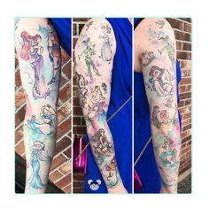 Sublime Disney sleeve by on in an Stephen Thompson styl. - Sublime Disney sleeve by on in an Stephen Thompson style ❤️❤️. Tattoos Skull, Feather Tattoos, Leg Tattoos, Arm Tattoo, Body Art Tattoos, Symbol Tattoos, Tattoo Art, Tatoos, Tattoo Quotes