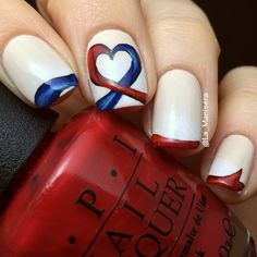 CHD Awareness nails. OPI My Vampire is Buff, Alpine White, First Date at the Golden Gate and Keeping Suzi at Bay
