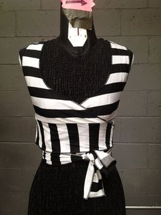 Black and White Horizontal Striped Wrap Top Choli Bellydance Burning Man Hooping cirque burlesque Goth Yoga Dance Mad Max Spinning costume on Etsy, $35.00