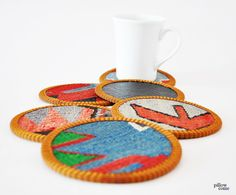 Engin /  Hand Woven Kilim Cups Coasters  Vintage by pillowcome, $34.00