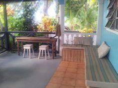 La terrasse de la villa face a la Mer des Caraïbes.