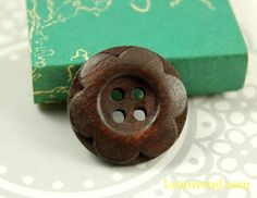 Flower Wooden Buttons - Borwn Color Lovely Emboss six Petals Flowers Wood Buttons, 0.79  inch (10 in a set)