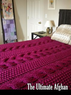 Super MEGA chunky afghan with thick, gorgeous cables. This is a very popular type of blanket. Knit with size 35 needles, this afghan knits up super quick. I made this in just 3 days. A generous 64 x 74 inches, its not just thick and warm, but big enough for two people to snuggle under. Luxurious textures, classic cables, chunkiness youll want to sink your fingers into. Makes a GREAT gift. Looks beautiful slung over the arm of a chair or sofa, or laying on a bed.  Yarn: Made with easy-to-find…