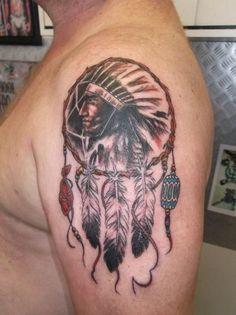 Shoulder American Indian Tattoos for Men