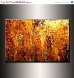 ORIGINAL Abstract Contemporary Fine Art Gold by newwaveartgallery, $225.00
