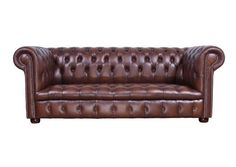 Classic, deep buttoned leather, Chesterfield sofa, commissioned by Phillip Stanhope, the 4th Earl of Chesterfield (1694-1773)