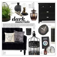 """""""Dark Materials"""" by leinapacheco ❤ liked on Polyvore featuring interior, interiors, interior design, home, home decor, interior decorating, Barclay Butera, Fearne Cotton, Kenroy Home and Magnussen Home"""