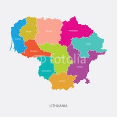 Best Lithuania Map Vector with colored regions #Illustration #map #maps #lithuania #litauen