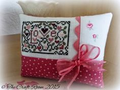 Valentine Love cross stitched pin pillow ornament