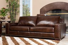 Furniture Brown Leather Sofa Color With Coffee Table And Brown Stripes Shag Rug Determining the Stunning Sofa for Sale With the Original Leather Material