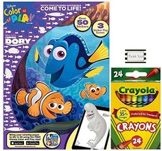 Finding Dory Color and Play with Over 50 Stickers and 3 Sticker Scenes Plus 24ct Crayola Crayons *** Read more  at the image link.