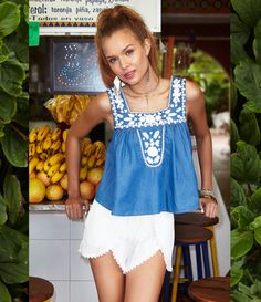 Lovers + Friends Dream Catcher Top in Blue Lagoon & Mariposa Shorts in Ivory