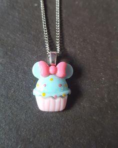 Cute Cupcake Resin Pendant Necklace - Blue