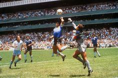Hand of God. Diego Maradona and Peter Shilton (Argentina 2-1 England - 1986 FIFA World Cup Quarter-finals - 22/06/1986).