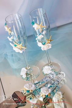 Beach wedding set, cake server and knife,champagne flutes,white and blue, pearls and starfish,small orchid, sea, wedding supplies, 4 pcs
