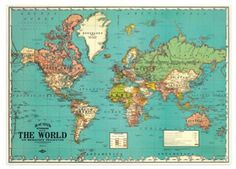 retro poster of inpakpapier 'Map of the world' Cavallini & Co. | kinderen-shop Kleine Zebra
