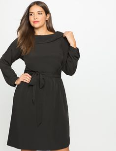 Collared Boatneck Fit and Flare Dress Black