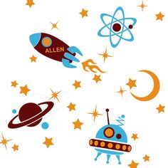 Personalized Outer Space Kids Wall Decals - UFO, Rocket, Planets, Moon & Stars Set. via Etsy.